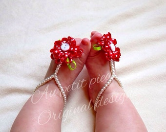 Baby barefoot sandals and headband set- baby girl gift- baby shower gift - baby headband , first birthday, baby shoes, photo prop