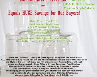 SALE Plastic Mason Style Jars, 10 BPA FREE Plastic Jars/ Wedding Cake in a Jar, Kid party, Salads, Trendy & Affordable Guest and Gift Supply