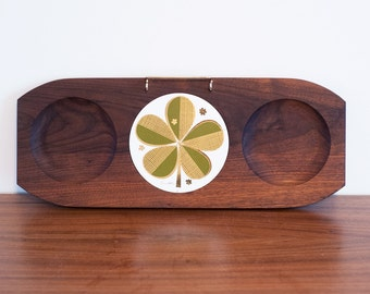 Mid century Ernest Sohn cheeseboard with shamrock, gold and avocado green clover on walnut cheese board