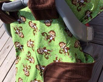 Adorable monkey minky canopy