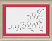 Oxytocin: nerdy hormone cross-stitch pattern