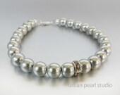 Gray Pearl Bracelet, Bridesmaid Jewelry, Pearl Bridal Jewelry, Grey Wedding Jewelry