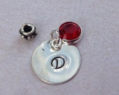 Add on half inch(1/2 inch) sterling silver disc charm hand stamped with initial embellished with birthstone charm.