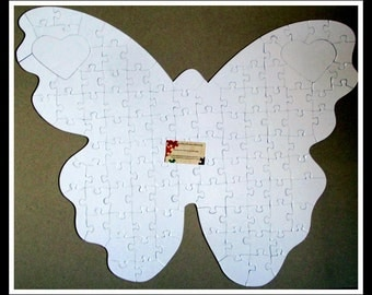 Quinceanera Guest Book Butterfly XL Guestbook Puzzle / White Puzzle Pieces /  Poster Size Puzzle / Quinceanera Guestbook Butterfly Autism