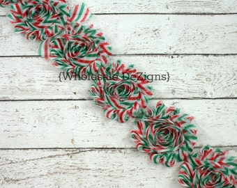 Christmas Chevron Shabby Chic Chiffon Flowers - Frayed Vintage Rosettes Trim - Red, White, and Green -  1/2 Half or 1 Yard