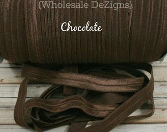 "Chocolate Brown FOE - Fold Over Elastic - 5/8"" - Foe Headbands - Hair Ties - Shiny Satin Elastic"