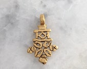 Ethiopian Cross w/ Bail, Gold, African, Tribal, Lead Free Pewter, Made In USA, Coptic Cross Pendant
