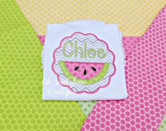 Girls Personalized Watermelon Shirt - Embroidered Shirt - Girls Embroidered Shirt - Watermelon shirt
