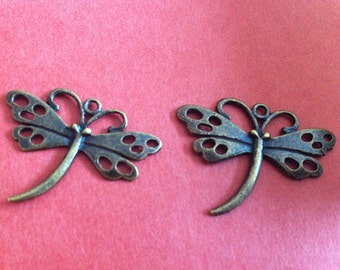 15pcs  27x36mm  Dragonfly charm  —antique bronze charm pendant Jewelry Findings