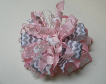 CHEVON Over the Top Princess Hair Bow Gray Pink Marabou Boutique Toddler Girl Pageant Birthday Party