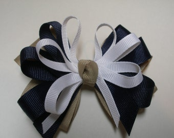 Khaki Navy and White Hair Bow Back to School Uniform Boutique layered Toddler Girl Grosgrain Handmade