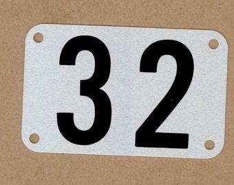 Number 32, Vintage Heavy Aluminum Metal Number Plate, DIY Journal, Large Locker Tag, Mixed Media Art, Steampunk, Creative Reuse Upcycled