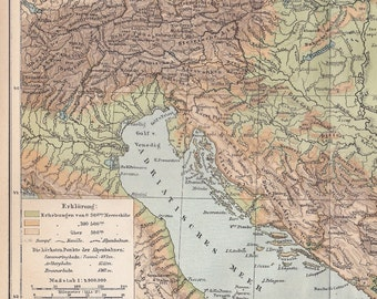 1898 Geographical map of Austria and Hungary at the end of the 19th Century Antique Map