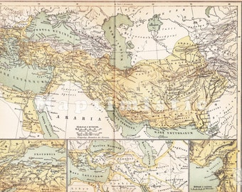 1899 Alexander the Great - Expansion and Territory of the Macedonian Empire 4th Century B.C. Original Dated Antique Map