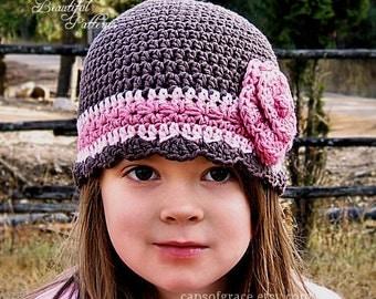 Crochet Hat Pattern Flower Hat Beanie Hat with Rose Crochet Pattern PDF 100 Newborn to Adult Girls Accessories Instant Download