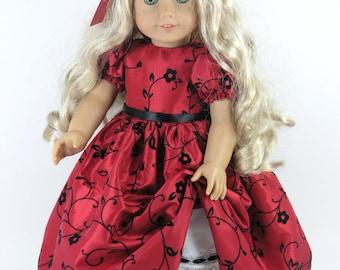 Handmade Doll Clothes fit American Girl - Dress, Pantalettes, Headband - Red Flocked Taffeta