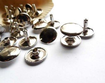 20 Silver Double Round Cap Rivet Studs - 15mm - 20-R-8S