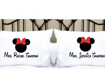 Personalized Pillowcases with Mrs. and Mrs. Lesbian Matching Pillowcases