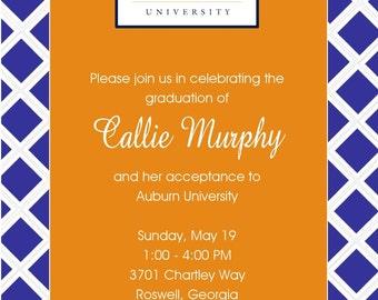 Set of 10 Auburn Graduation Invitations