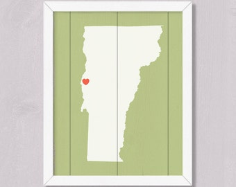 Wood wall art - VERMONT home decor Wood sign  Handmade Personalized Heart Sign - Wedding gift Housewarming Bridal Shower Family gift