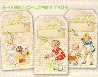 Vintage children gift tags Printable tags on Digital collage sheet for Scrapbooking