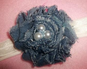 New - Shabby Denim Flower Headband