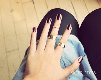 2 Gold Tube Rings, Midi Rings, Midi Ring, Above Knuckle ring, , twist ring, Stack Ring