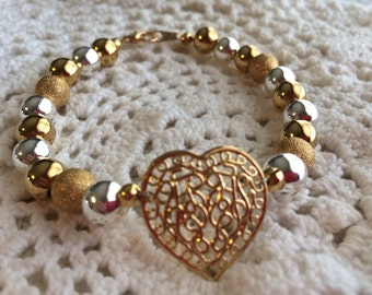 Sterling Silver and Gold  Heart Bracelet