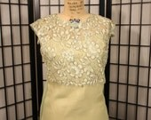 Rare Creamy Olive Chiffon 1960's Blouse with Train