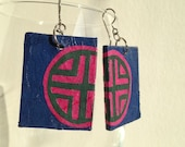 Blue & Hot Pink Handmade Hanji Paper Dangle Earrings Geometrical Design Hypoallergenic hooks Lightweight Ear rings