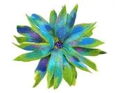 Felted Brooch felt nuno silk flower nunofelt purple Turquoise Olive green folk boho wool victorian fairy