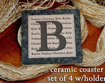 Ceramic Personalized Coaster - initial & first names w/wrought iron holder - Lancaster (set of 4)