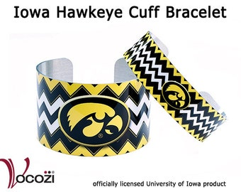 Iowa Hawkeye Cuff Bracelet - Black and Yellow Chevron   - Tigerhawk