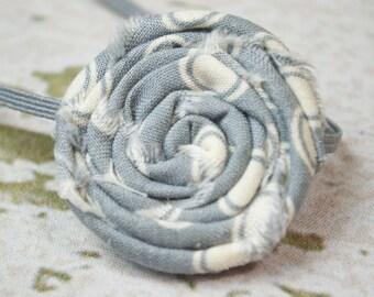 Gray and White Polka Dot Fabric Rolled Rose on a Matching Headband, Newborn Headband, Toddler Headband, Newborn Photo Prop