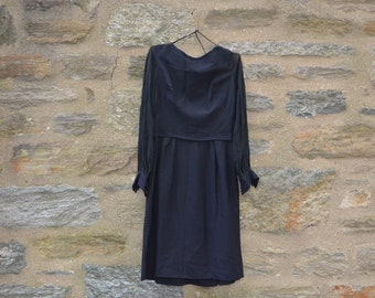 ON SALE  Vintage Little Black Dress Crepe and Chiffon Size 14