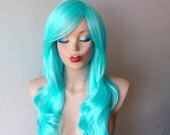 Aqua blue wig. Long curly/wavy hairstyle long side bangs Mermaid wig. Light blue wig.