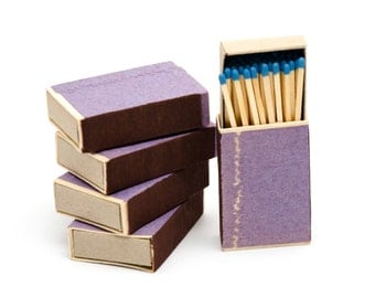 Five matchboxes, wooden matches with sky blue heads inside, striker from two sides, color matchsticks