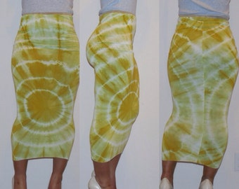 Lime Green Contour (fitted) Tie-Dye Skirt