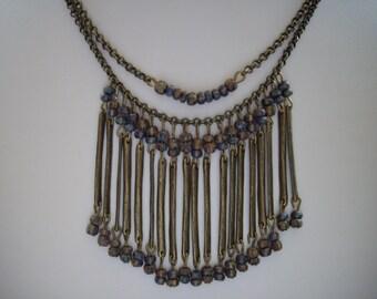 Antique Brass Bib Necklace with Antique Brass Sticks and Blue Green Tan Picasso Czech Glass Beads