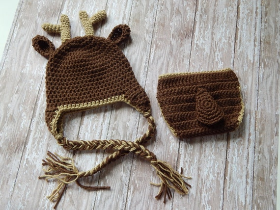 Free Crochet Deer Diaper Cover Pattern : Deer Hat & Diaper Cover Crochet Deer Hat Deer Photo Prop