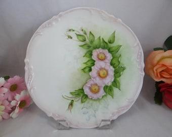 "Vintage Hand Painted Artist Signed ""E.Joft""  Pink Flower Plate"