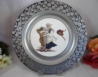 Vintage 1970s Kate Greenaway Wilton Pewter Porcelain Insert Victorian Children Charger Plate