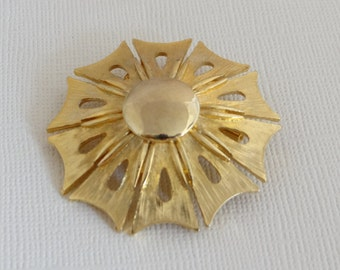 RNK Gold Tone Pinwheel Style Brooch Pin - Elegant