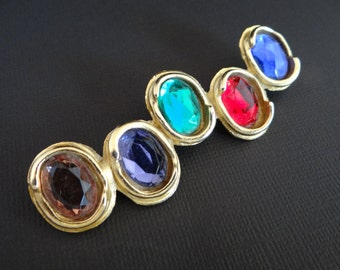 Elegant Jewel Tone Brooch in a Gold Tone Setting - Retro Modern Abstract