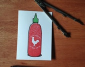 Oh Shit You're Hot! Sriracha-Inspired Greeting Card