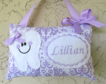 Tooth Fairy PIllow Damask Personalized