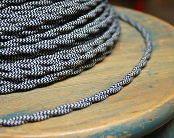 6 Feet: Cloth Covered Twisted Wire - Black/White Pattern, Vintage Style Fabric Lamp Cord, For Hanging Pendants, Trouble Lights etc