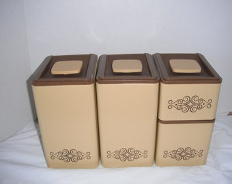 Vintage gold Kromex cannister set