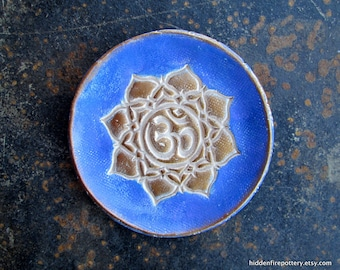 Handmade Pottery Bowls- Om Symbol in Gilders Paste, Decorative, Stamped Pottery, Ring/Jewelry Dish, hiddenfirepottery