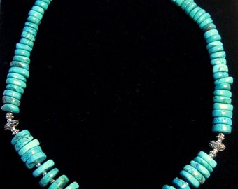 Graduated Disc Genuine Turquoise Necklace Sterling Silver Southwest Jewelry